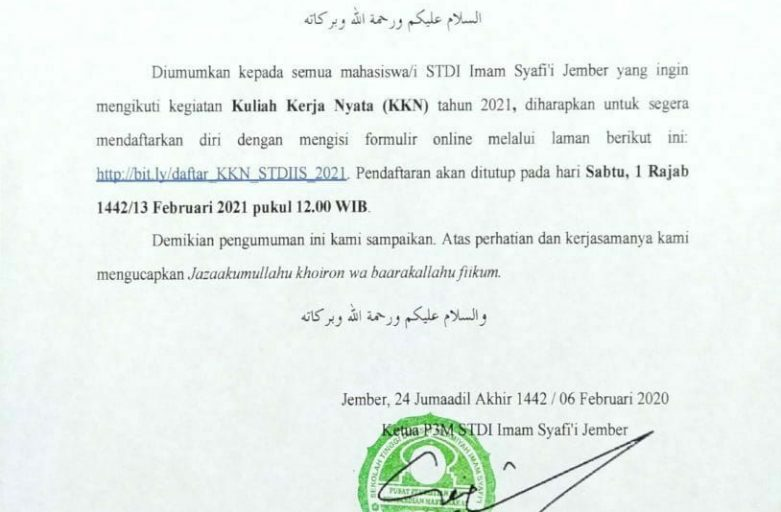 Pengumuman KKN STDI Imam Syafi'i Jember Tahun 2021